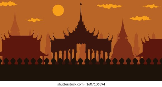 Thai temple, ancient architecture of Thailand In the evening the sunset There is a beautiful, delicate, traditional architectural style.