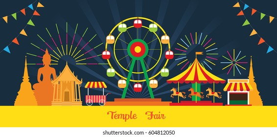 Thai Temple Fair, Night Scene, Thailand Festival and Event in Buddhism Place
