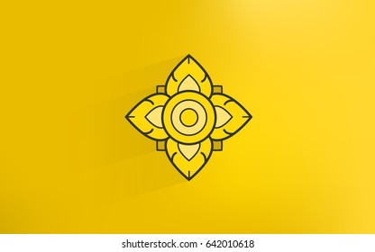 thai tradition art icon with gold color background