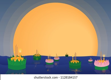 Thai traditional floating flowers loy kratong thailand festival full super moon background night and temple scene celebration culture with copy space eps10 vector illustration