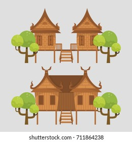Thai Traditional House on grey background