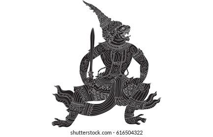 Thai traditional painting, hanuman