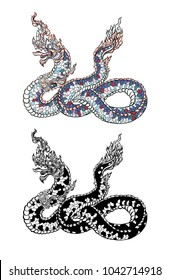 Thai Traditional tattoo design.The Naga is king of snake and Thai dragon live in Himmapan Forest.Hand drawn The Naga tattoo and coloring book.Animal of Buddhism