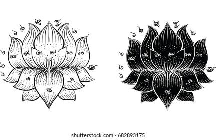 thai traditional tattoo, lotus