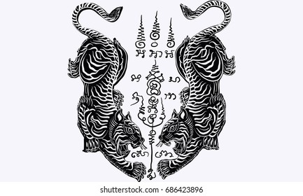 Thai traditional tattoo, tiger,vector