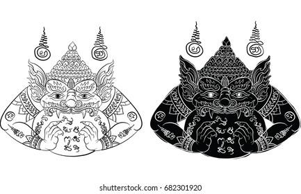 Thai traditional tattoo, Thai tradition painting, Lord Rahu