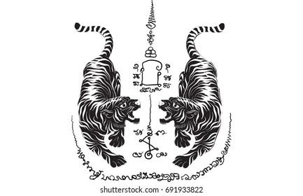 Thai traditional tattoo,tiger