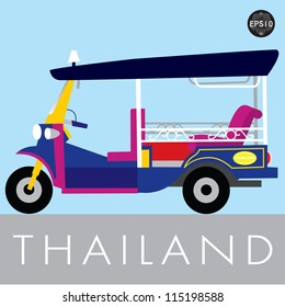 Thai traditional Tuk Tuk in Bangkok of Thailand, Vector