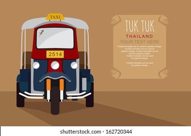 Thai traditional Tuk Tuk in Bangkok of Thailand, Illustration vector design.