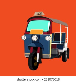 Thai traditional Tuk Tuk in Bangkok of Thailand. Vector Illustration