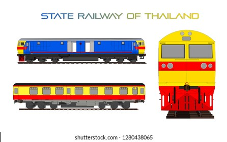 Thai train,State Railway of Thailand vector