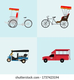 Thai transportation with tricycle, taxi, mini bus. Vector illustration