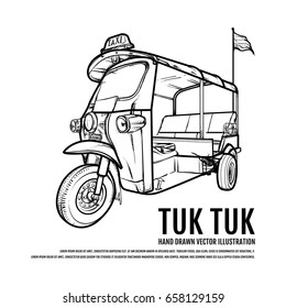 Thai Tuk Tuk. Taxi Bangkok Hand Drawn vector Illustration. Travel Thailand Concept.