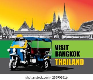 Thai vehicle Tuk Tuk in Bangkok of Thailand, vector