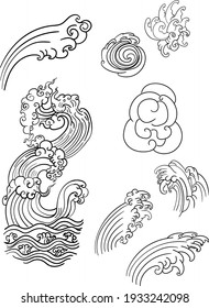 Thai wave design for tattoo. water splash and cloud outline.