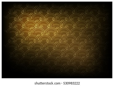 Thai Wave Pattern, Illustration of Beautiful Golden Brown Vintage Texture Wallpaper Background for Add Content or Picture.