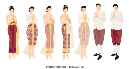 Thai wedding couple greeting in traditional dress eps10 vectors illustration