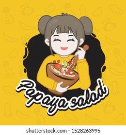 thai women chef cooking papaya salad, Som Tum,Chef mascot