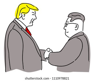 Thailand ,12 June 2018 Donald Trump and Kim Jong Eun, North Korea's supreme leader. Join hands in front of the media with a compromise and a smile. It is a time of true history. Before the summit