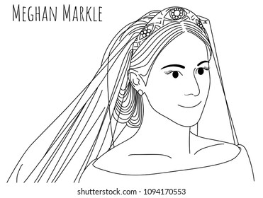 Thailand, 18 May 2018,Meghan Markle in wedding dress caricature hand drawn vector