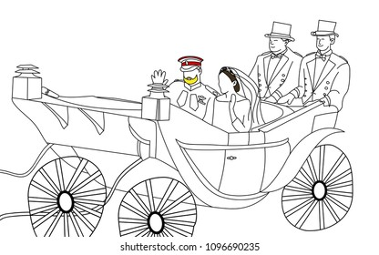 Thailand, 22 May 2018,Prince Harry and Meghan Markle in the carriage after  wedding ceremonies hand drawn vector