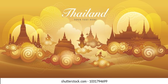 Thailand Amazing gold vector, Thai art graphic vector