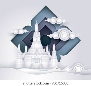 Thailand Amazing, Thai Gold Paradise vector, Wat Arun,The temple of Dawn in Bangkok, Paper art vector and illustration.