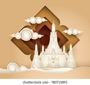 Thailand Amazing, Thai Gold Paradise vector, Wat Arun,The temple of Dawn on the Chao Phraya river, Paper art vector and illustration.