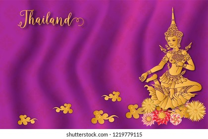 Thailand ancient Luxury concept .Fairy godmother.Fairy tale woman.Thai traditional style.vector illustration for Travel in Thailand.poster,greeting card, party invitation,banner,brochure,other use