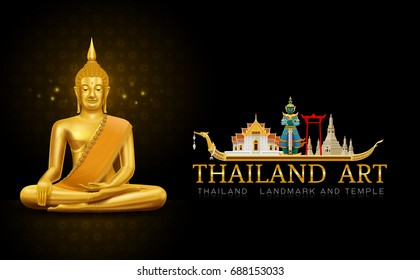 thailand art buddha statue landmark and pattern hi detail vector illustration