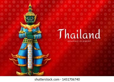 Thailand art Thai Temple Guardian Giant high detail vector illustration