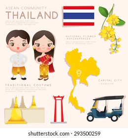 Thailand : Asean Economic Community (AEC) Infographic with Traditional Costume, National Flower and Tourist Attractions : Vector Illustration EPS10