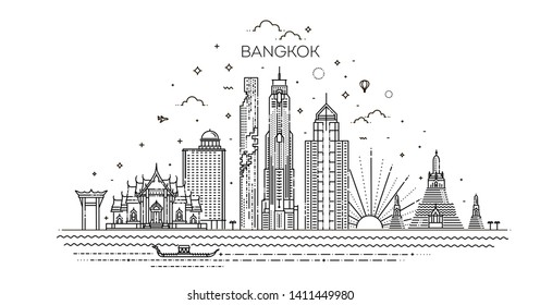 Thailand and attractions to Bangkok landmarks. Vector illustration