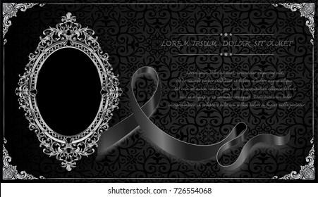 Thailand Awareness Royal frame on black pattern background, Vintage photo frame on drake background, antique, vector design pattern and melanoma awareness