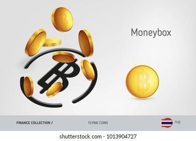 Thailand Baht money box with flying Thailand Baht coins, finance concept. Vector illustration for print, websites, web design, mobile app, infographics.