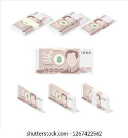 Thailand Baht money paper, Thailand currency, Banknote Vector Illustration