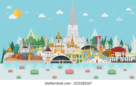 Thailand, Bangkok in Thailand with attractions, landmark. Loy Krathong Festival. vector illustration