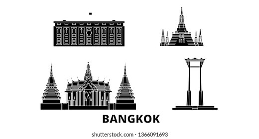 Thailand, Bangkok flat travel skyline set. Thailand, Bangkok black city vector panorama, illustration, travel sights, landmarks, streets.