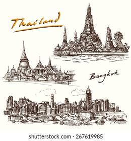 Thailand, Bangkok - hand drawn set