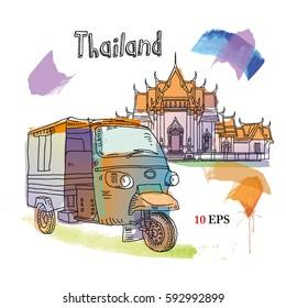 Thailand. Bangkok. Watercolor