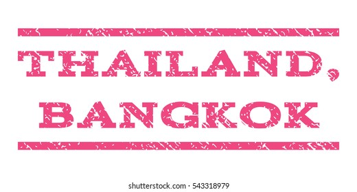 Thailand, Bangkok watermark stamp. Text tag between horizontal parallel lines with grunge design style. Rubber seal stamp with scratched texture. Vector pink color ink imprint on a white background.
