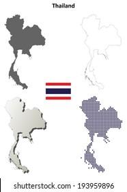 Thailand blank detailed outline map set - vector version