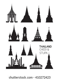 Thailand Buddhist Pagodas Objects, Silhouette Set, Major and Important Chedi or Stupa