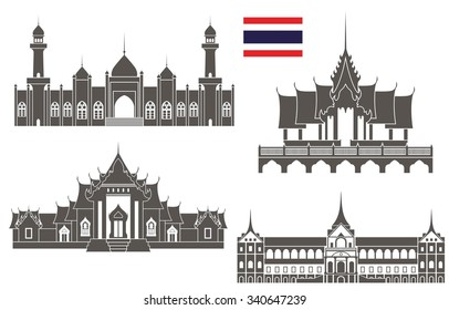 Thailand buildings set. Abstract buildings on white background