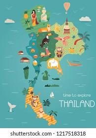Thailand cartoon vector map with famous destinations, animals, fruits, symbols
