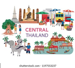 Thailand central region traveling concept with the local landmarks, all in flat style design, illustration, vector