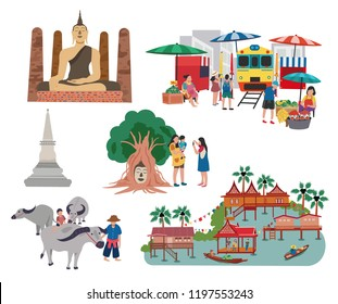 Thailand central region traveling concept with the local landmarks elements, all in flat style design, illustration, vector