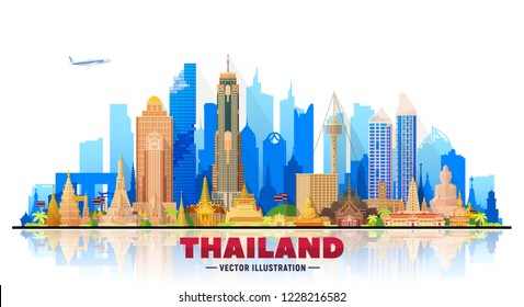 Thailand cities skyline silhouette vector illustration on white background. Business travel and tourism concept with famous Thailand landmarks . Image for presentation, banner, web site.
