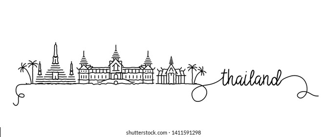 Thailand City Skyline Doodle Sign