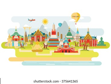 Thailand colorful detailed illustration. Vector background